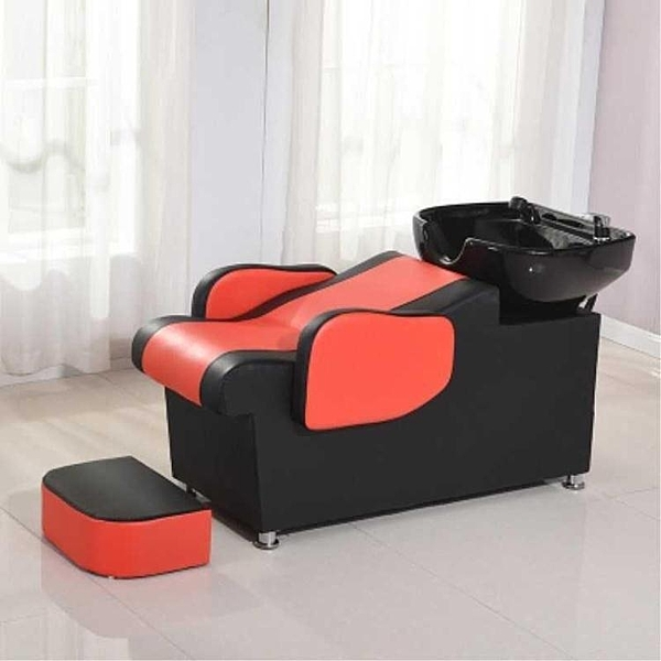 快速出貨 小型洗頭床簡約理發店起簡單大氣加長床沖式裝飾洗頭房凳懷舊黑