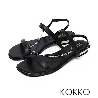 KOKKO柔軟羊皮細鍊線條平底涼鞋 黑色