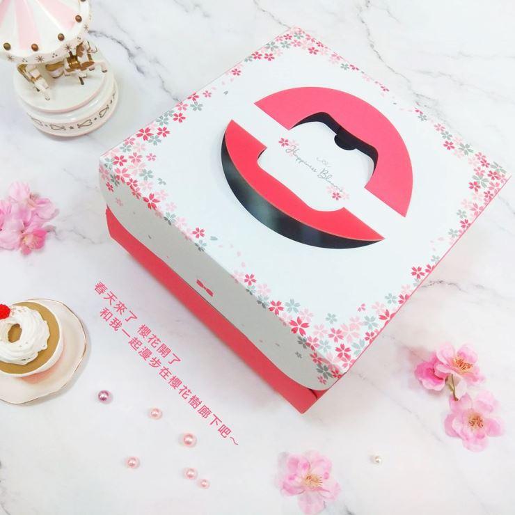 巧緻烘焙網【U101】櫻之戀 6吋蛋糕盒 6吋手提蛋糕盒 手提布丁盒 烘焙包裝 手提方形蛋糕盒 紙盒 蛋糕包裝盒