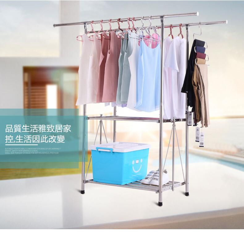 二層折疊不鏽鋼曬衣架  伸縮曬衣架 掛衣架 伸縮衣架 室內衣架 開放式衣架