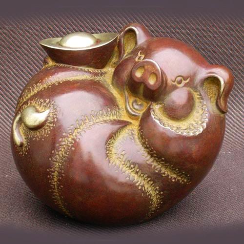 雕塑大師羅廣維【珍寶】豬銅雕-限量168個 附原作証明