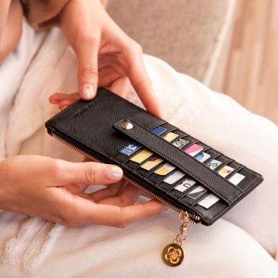 CHENSON真皮 8卡超薄卡包零錢包 黑(W19030-3)