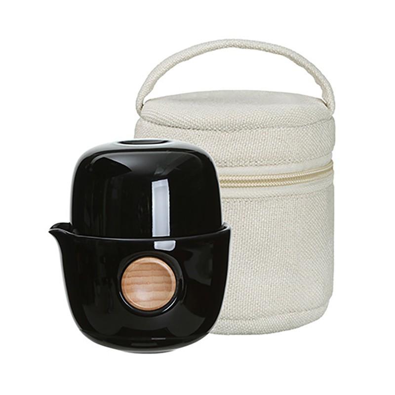 quicker布包組茶器 旅行茶具 泡茶杯 瓷器茶具 便攜型茶具 套裝茶壺茶杯-亮黑