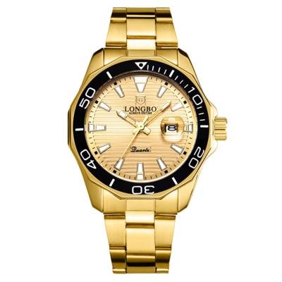 鋼帶手錶男 手錶男經典款式龍波手錶80512夜光日曆鋼帶水鬼款系列商務石英表『XY2853』
