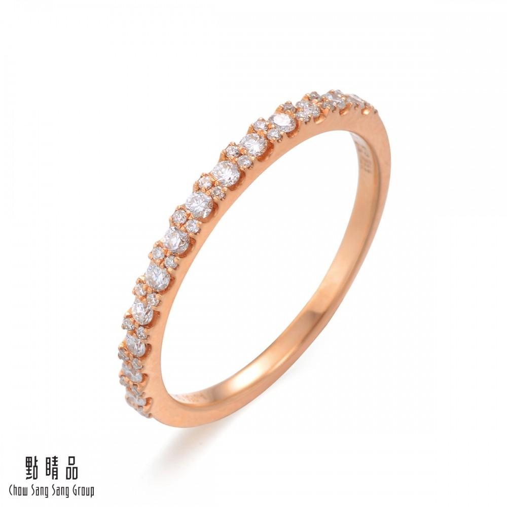點睛品 18K玫瑰金 20分鑽石戒指/線戒