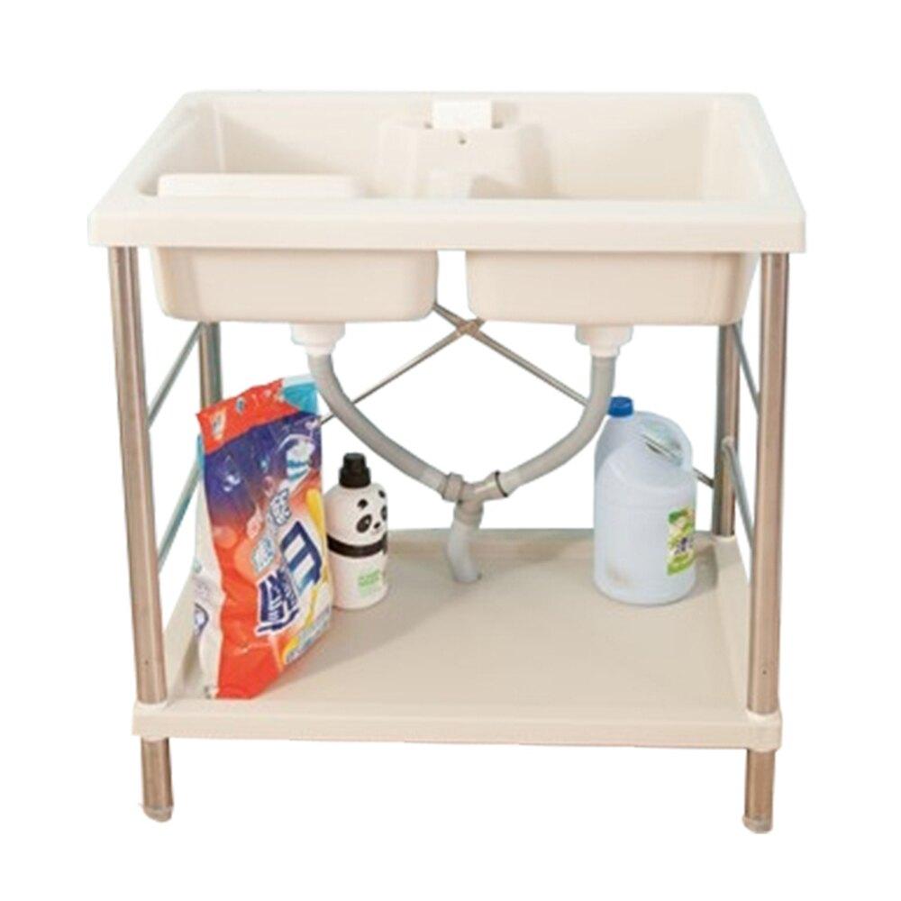 日式雙槽塑鋼洗衣槽(不鏽鋼腳架)限時$2590/流理台/洗手台/塑鋼/水槽/洗碗槽/洗衣板【JL精品工坊】
