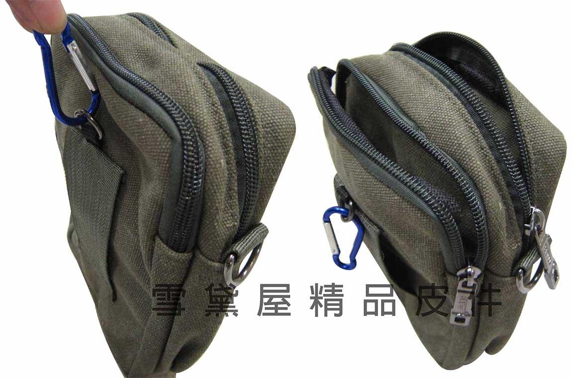 ~雪黛屋~HTW 腰包5.5吋手機穿過皮帶肩背斜側背隨身物品外掛固定專用防水帆布二層主袋+外袋共五層L228