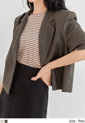 韓國空運 - 單釦混亞麻短袖西裝外套 夾克