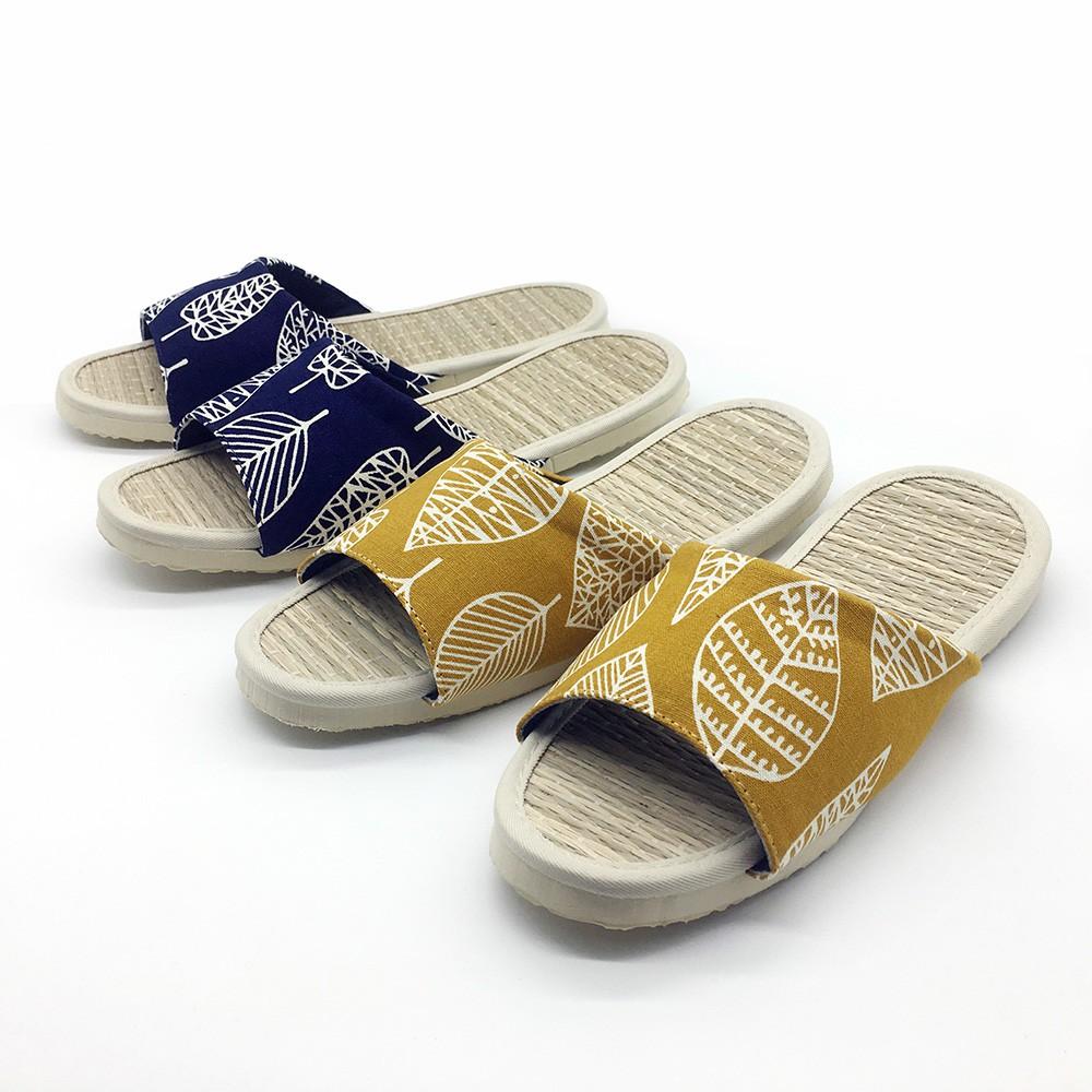 【iSlippers】小時光-真草蓆室內拖鞋-時光飛葉
