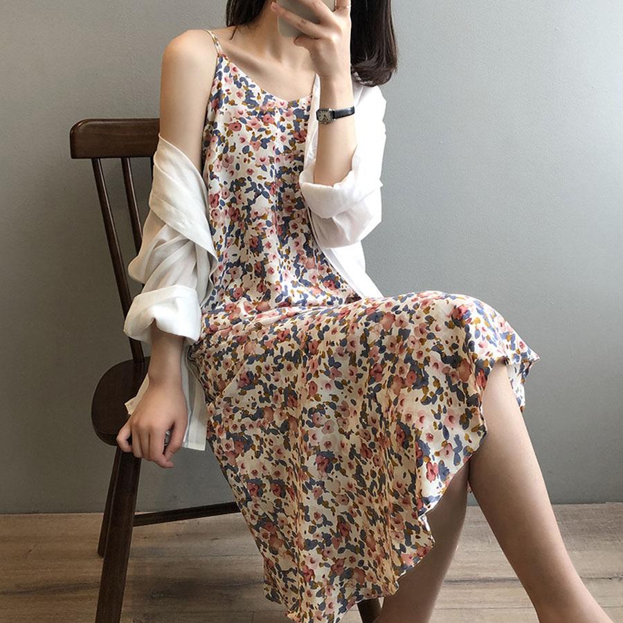 韓版復古碎花細肩帶裙魚尾洋裝