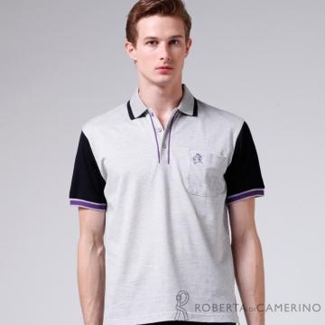 ROBERTA諾貝達 台灣製 修身版 特色短袖POLO衫RAB17-93灰色