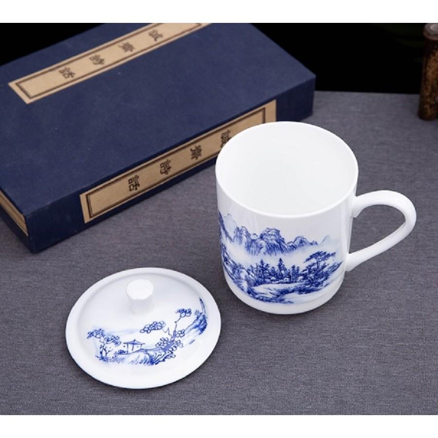 景德鎮骨瓷茶杯/青花杯/山水畫/骨瓷/白瓷/釉上彩/帶蓋馬克杯