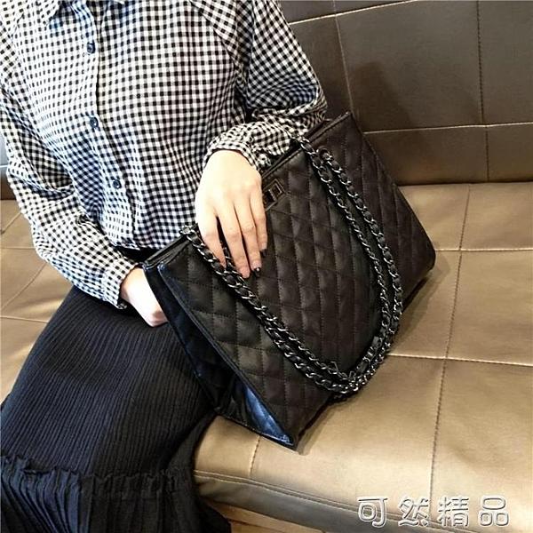 手提包包包女新款潮洋氣手提包百搭單肩斜挎包大容量菱格錬條包大包