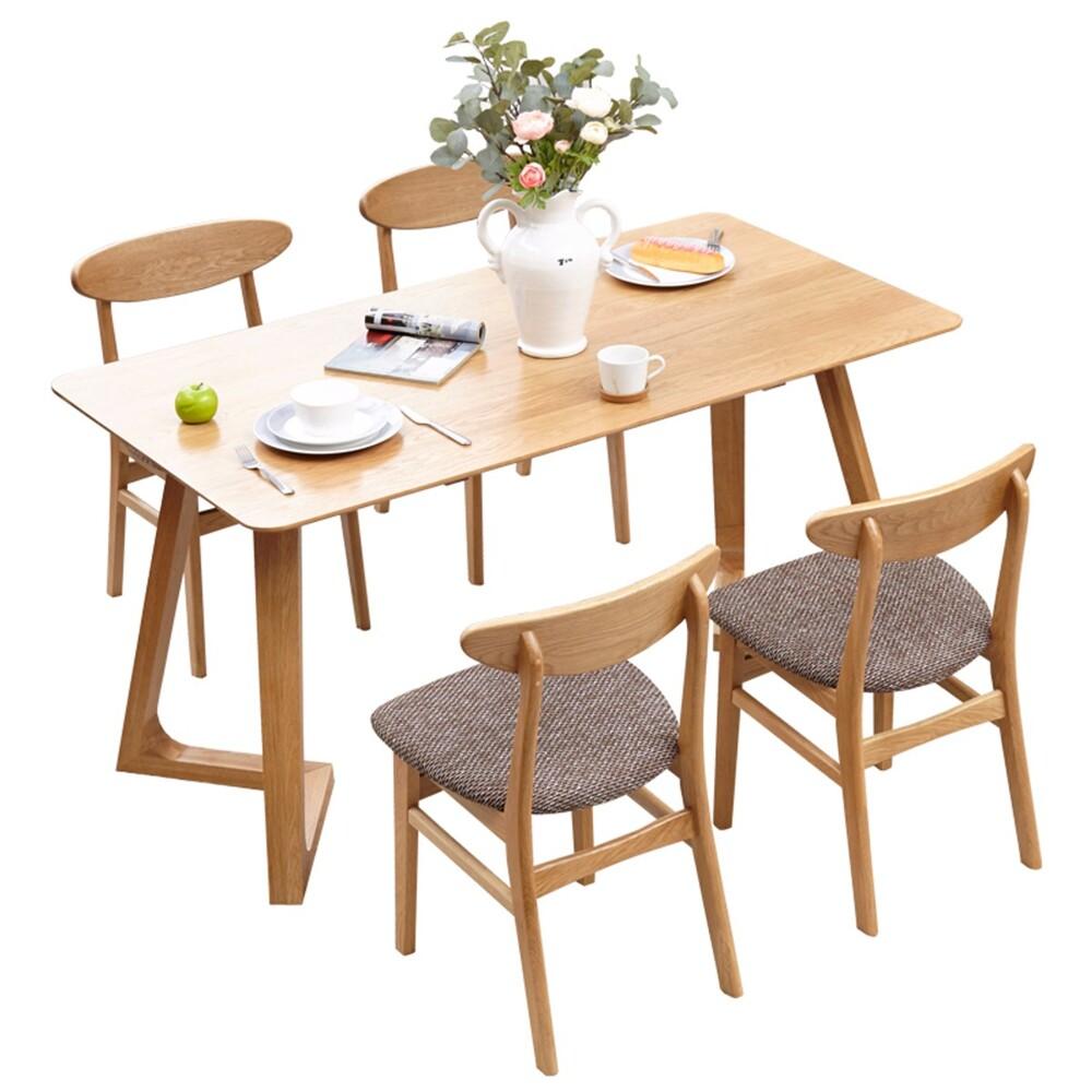 obis原木日式塬上白橡木實木1.5m v腳餐桌w0402