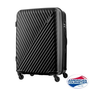 AT美國旅行者 24吋Visby線條防刮硬殼TSA行李箱(黑)