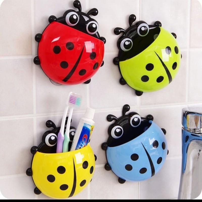 obuymy~韓國可愛創意瓢蟲牙刷架 牙膏架組合套裝 強力吸盤牙刷牙膏置物架 收納架 牙刷籃 瓢蟲吸