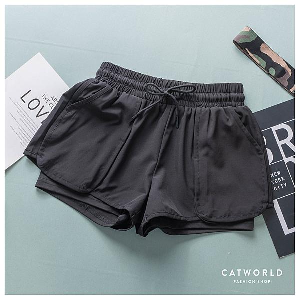 Catworld 大口袋腰抽繩防走光雙層運動短褲【14001224】‧S-XL
