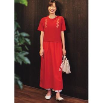 【大きいサイズ】 フリル衿刺しゅう使いドッキングロングワンピース(オトナスマイル) ワンピース, plus size dress