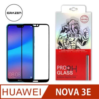 【格森GRAZEN】華為 NOVA 3E / NOVA 4E 滿版(黑)鋼化玻璃