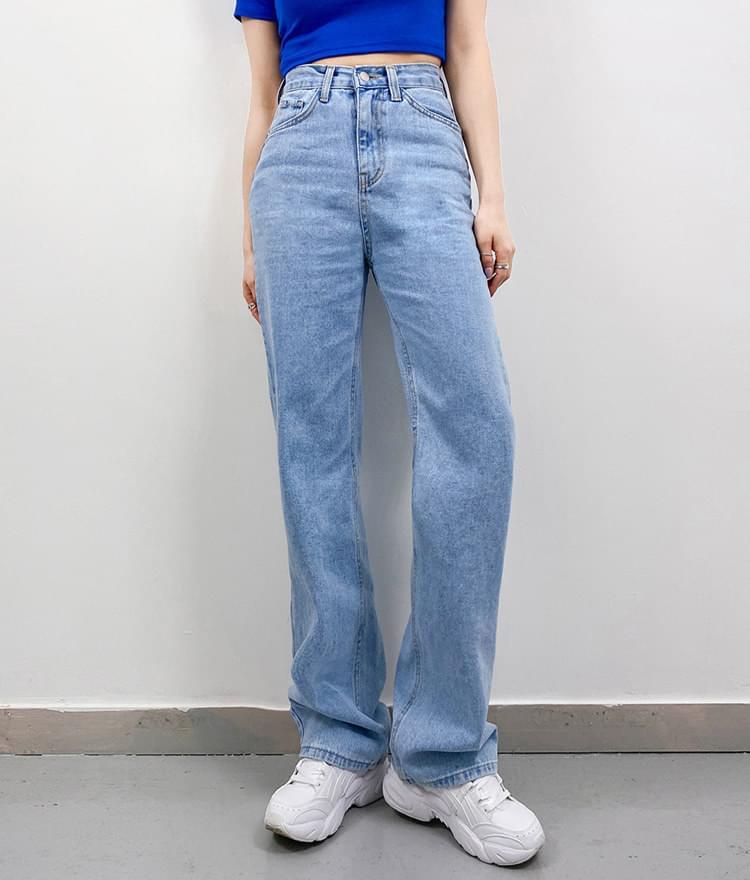 韓國空運 - 高腰直筒丹寧寬褲 藍/淺藍 牛仔褲