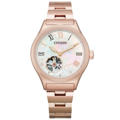 CITIZEN 花朵綻放晶鑽機械腕錶-玫瑰金(PC1007-81D)-34mm