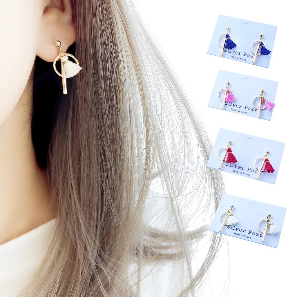 韓國圈槓小流蘇 造型耳環 流蘇耳環 夾式 針式耳環【Bonjouracc】