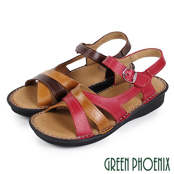 U25-22192 女款厚底涼鞋 交叉撞色線條沾黏式全真皮小坡跟涼鞋【GREEN PHOENIX】