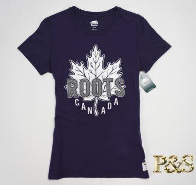 [P S] 全新正品 Roots 大楓葉 女款 貼布roots 字樣 短T 深藍色
