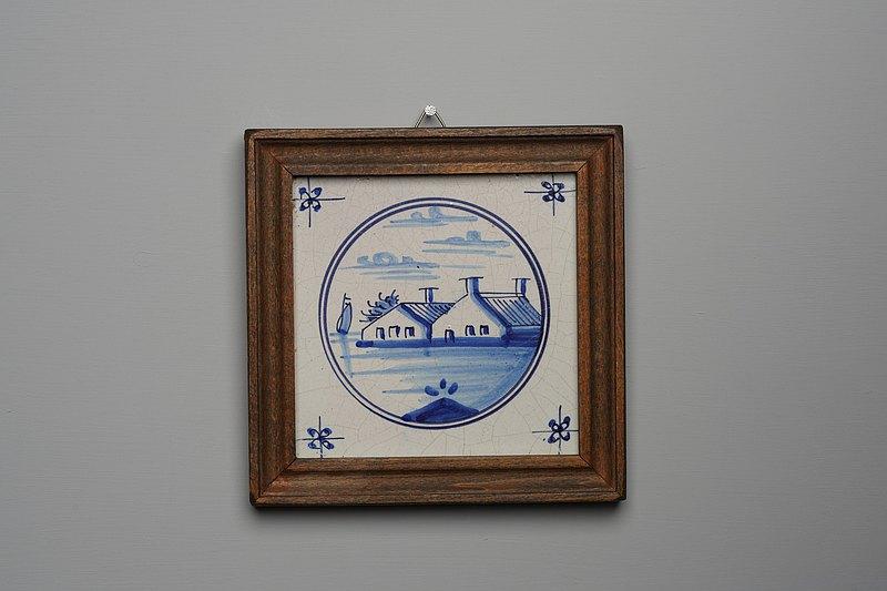 荷蘭手繪農場風景(T047) /代爾夫特藍/ Delft/台夫特/歐洲老件/
