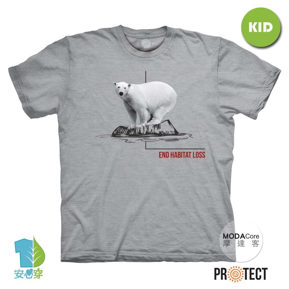 摩達客-預購-美國The Mountain保育系列 消失冰河北極熊 兒童灰色純棉短袖T恤