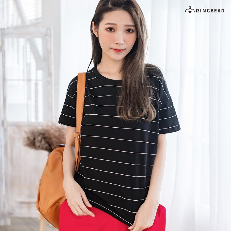 眼圈熊 中大尺碼 百搭舒適修身立體線條撞色圓領短袖T恤(黑.粉XL-5L)-U446
