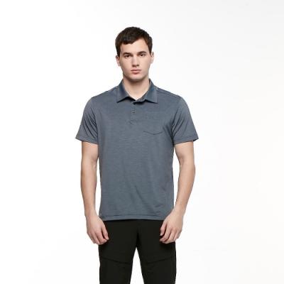 【HAKERS 哈克士】男 彈性吸濕排汗抗UV口袋POLO衫(海暴灰)