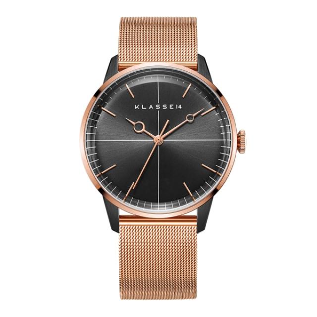 Klasse14 WDI19RB001M 弧面三針時尚腕錶 黑/玫瑰金 40mm