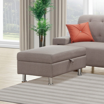 H&D 奧舟棕色收納腳椅