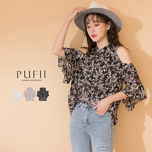 現貨◆PUFII-套裝 露肩雪紡上衣+蕾絲背心套裝- 0429 春【CP18469】