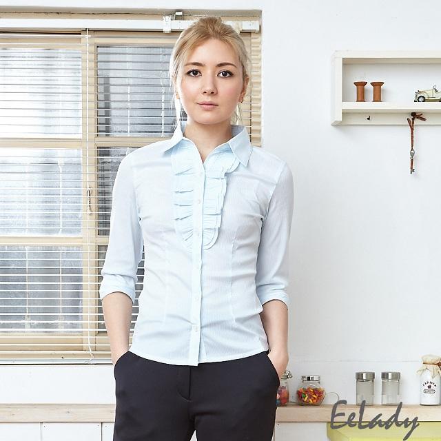 【EE-LADY】胸前荷葉線條七分袖(藍)34-42吋