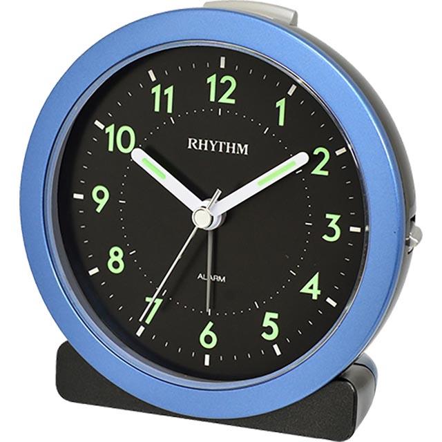 日本麗聲鐘-現代時尚黑色鐘面設計深海藍漸進鬧鈴貪睡夜光鬧鐘