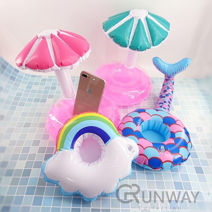 歐美新款 充氣 彩虹雲朵 紅鶴 天鵝 吧台 杯座 杯墊 杯托 充氣杯座 手機座 充氣杯座 水上用品 派對 佈置 泳圈