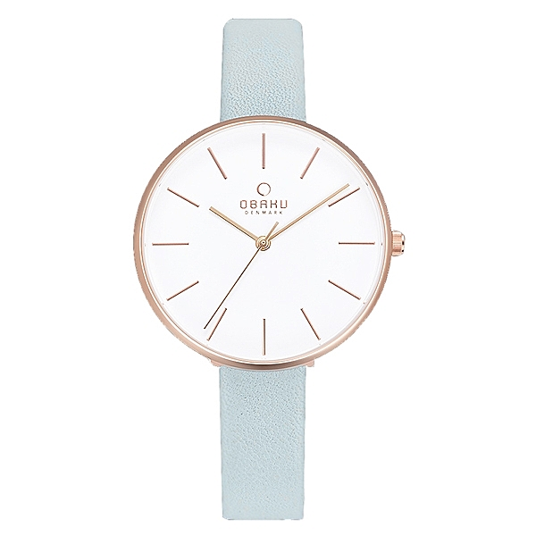 OBAKU日系典雅皮革女腕錶 藍 V211LXVIRL