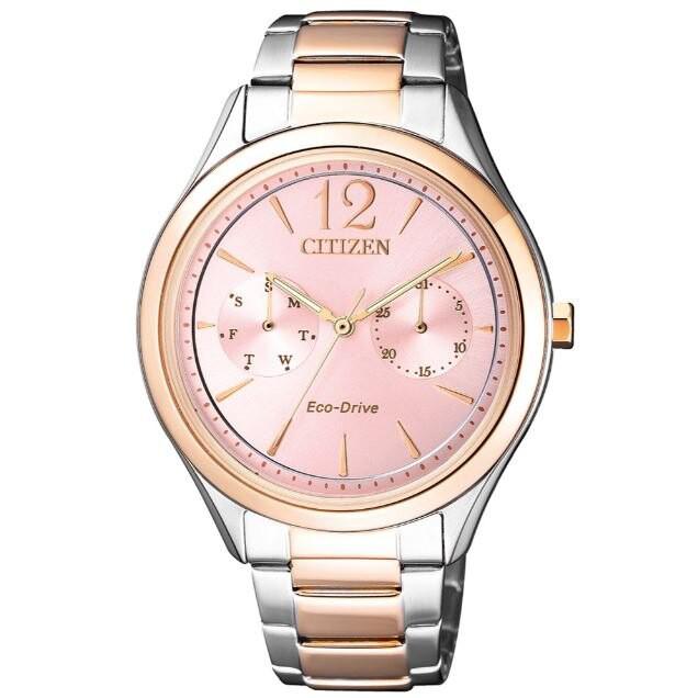 CITIZEN 星辰錶 FD4026-81X 經典優雅光動能時尚腕錶 /粉色面 36mm