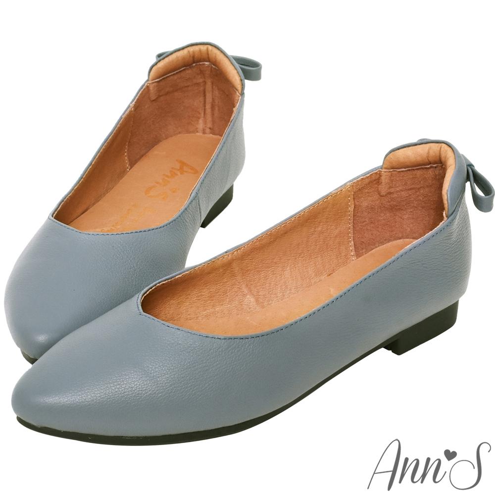 Ann'S  再讓我睡一下就好 後跟小蝴蝶結真皮平底鞋 藍