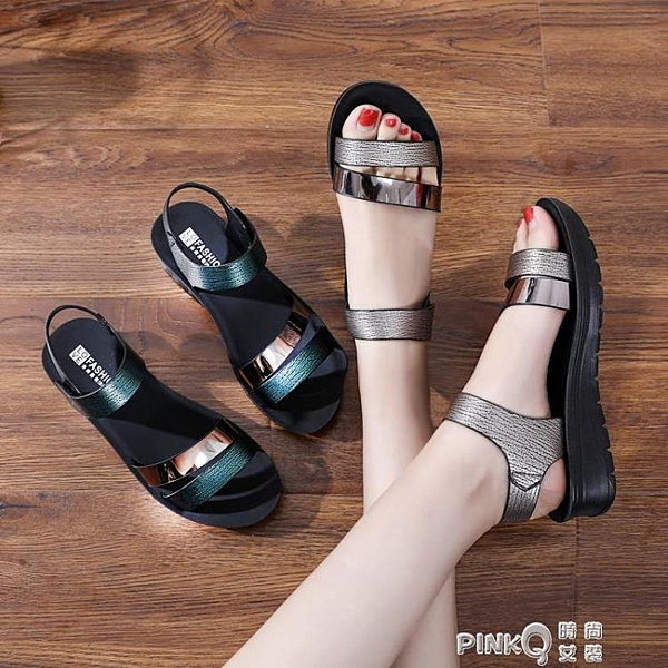 閏月媽媽涼鞋女夏平底30歲孕婦防滑40歲中年軟底中老年50歲奶奶鞋 (pinkQ 時尚女裝)