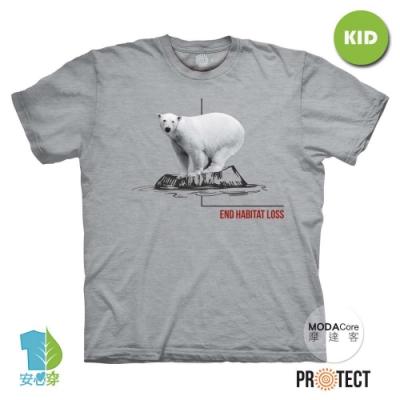摩達客-美國The Mountain保育系列 消失冰河北極熊 兒童灰色純棉短袖T恤