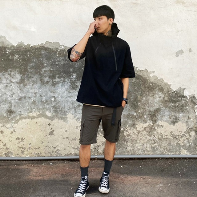 PERCENT% 橫紋雙拉鍊短帽T 黑色 S-2XL 藤原本舖 短袖帽T 短帽T 穿搭帽T 工作帽T 工裝帽T
