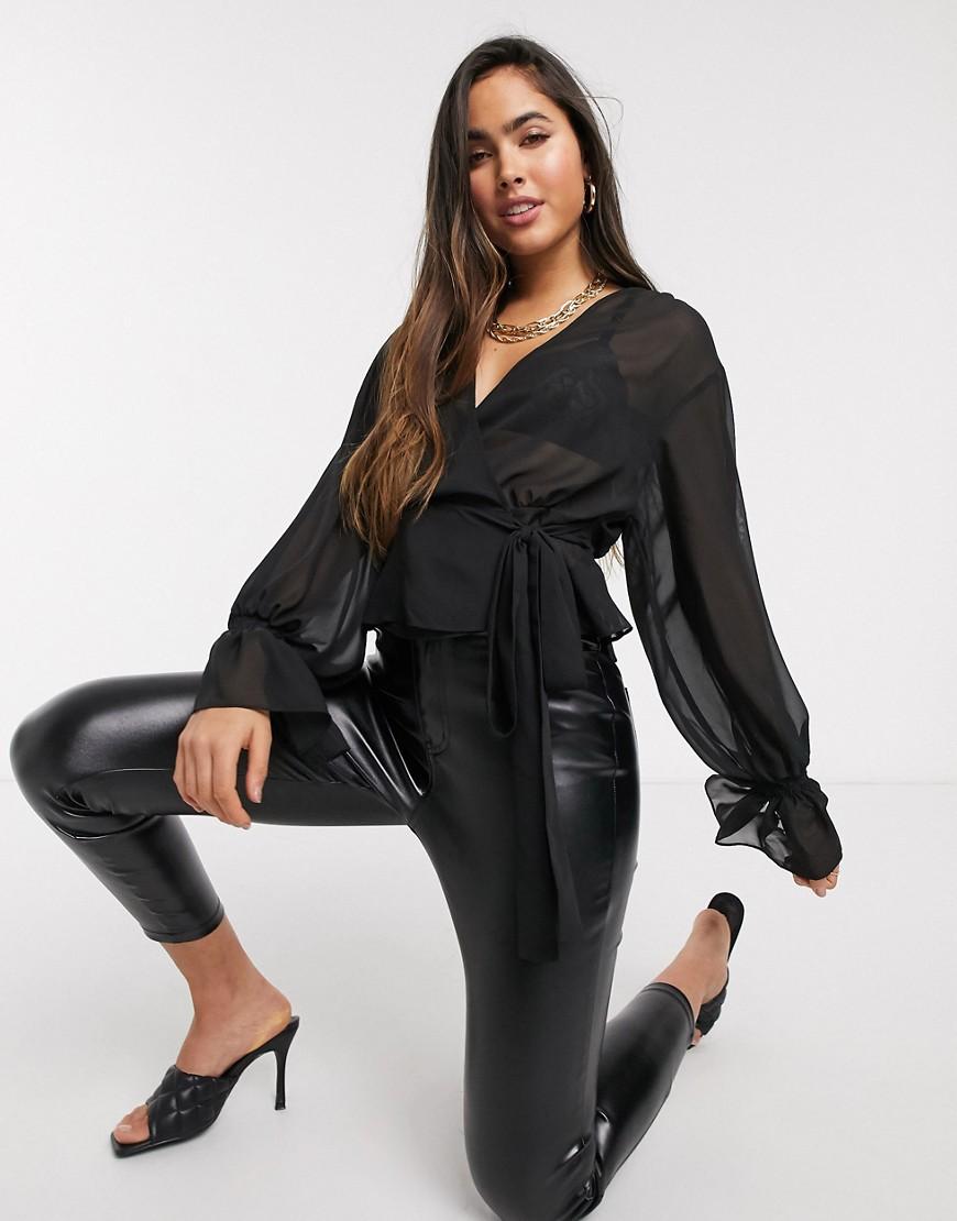 ASOS DESIGN long sleeve sheer wrap top in black