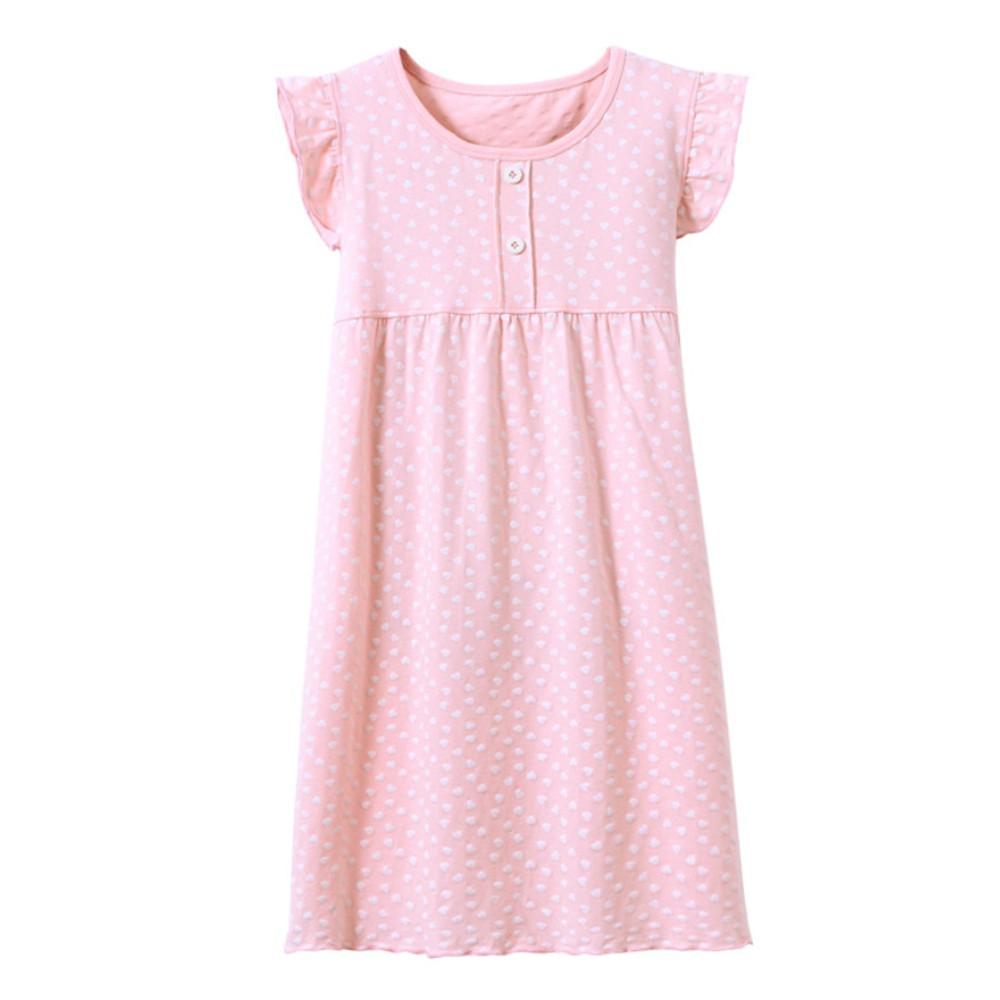 【STAR BABY】高質感甜美荷葉秀愛心兒童長裙睡衣-粉色