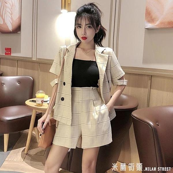西裝套裝 御姐套裝女夏季正韓輕熟風格子短袖西裝外套 高腰短褲時尚兩件套