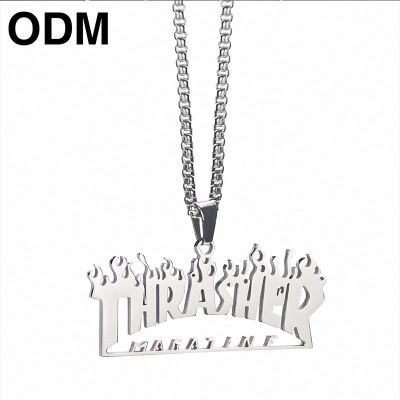 嘻哈街頭項鏈 火焰吊墜 鈦鋼項鏈【ODM】