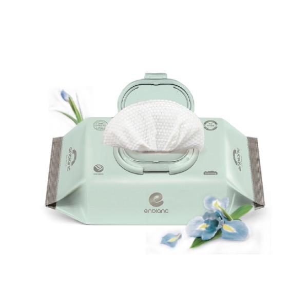 韓國 Enblanc 頂級柔緻純水有蓋攜帶裝濕紙巾-藍鳶尾花萃取物70抽【麗兒采家】