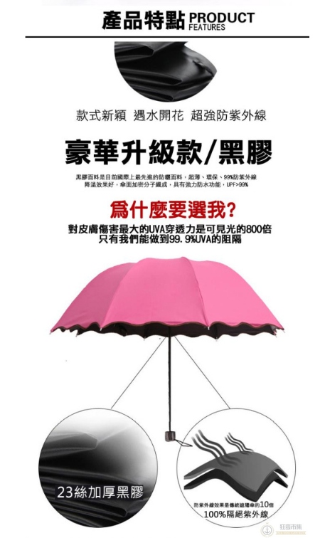韓國熱銷 【遇水開花魔術傘】黑膠防曬 抗UV洋傘 折傘 晴雨傘 遮陽傘 荷葉邊 公主傘 遇水開花 雨傘【狂麥市集】